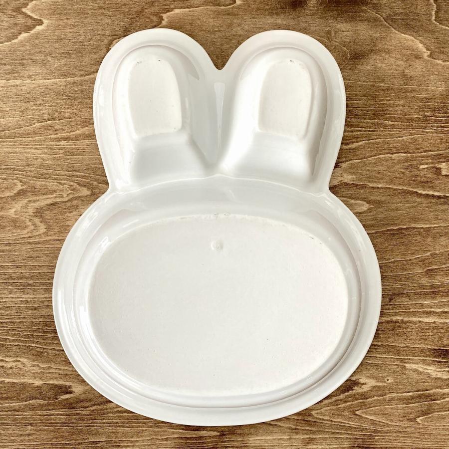 キッズ ランチプレート うさぎちゃんキッズプレート 食器 うつわ 陶器 白いうつわ|minopota|05