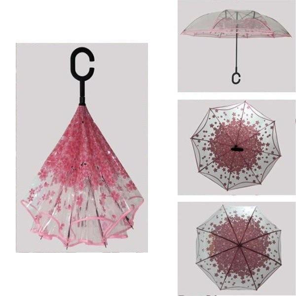 逆さ傘傘晴雨兼用透明花さかさ傘さかさかささかさま傘レディースメンズ日焼け対策UVカット逆向き逆さまの傘長傘濡れない minto 03