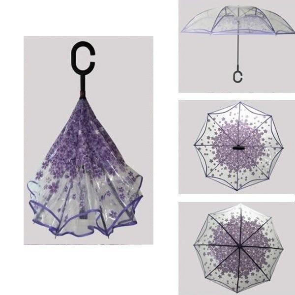 逆さ傘傘晴雨兼用透明花さかさ傘さかさかささかさま傘レディースメンズ日焼け対策UVカット逆向き逆さまの傘長傘濡れない minto 04