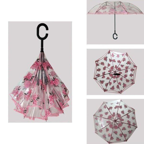 逆さ傘傘晴雨兼用透明花さかさ傘さかさかささかさま傘レディースメンズ日焼け対策UVカット逆向き逆さまの傘長傘濡れない minto 07