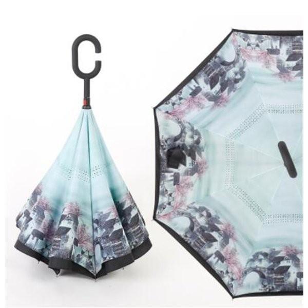 逆さ傘長傘メンズレディースさかさま傘逆折り傘遮光遮熱逆向き長傘逆さま傘晴雨兼用UVカット男女兼用日傘|minto|04