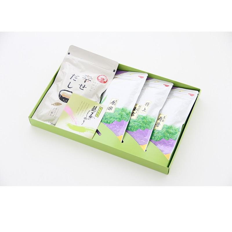 お茶ギフト 味楽家の幸せだしと3種類のお茶セット 寿楽 特上熱湯出し玉露 寿芳 mirakuya-net 06