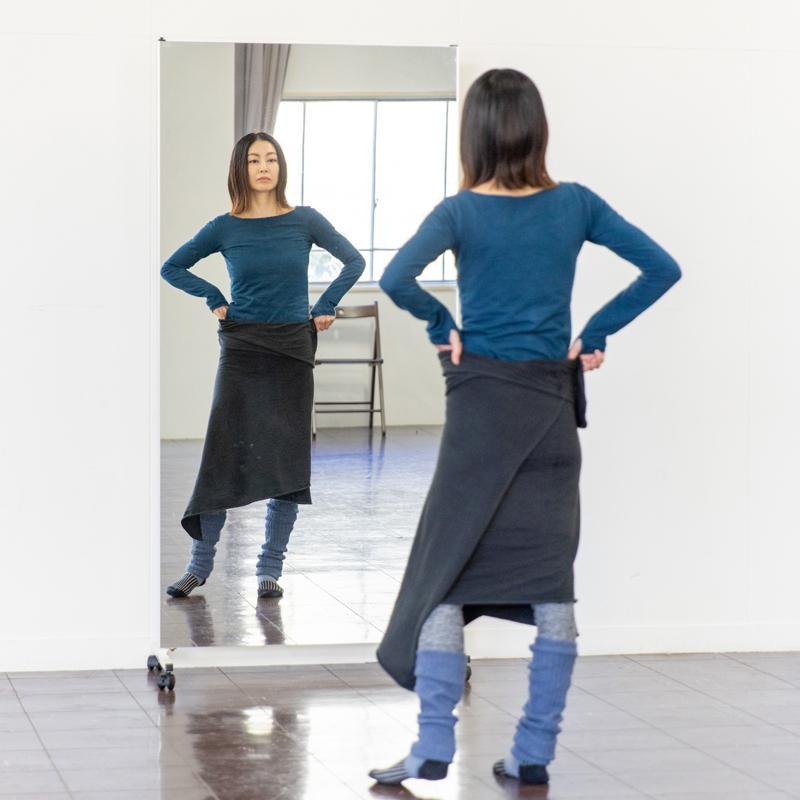 鏡 全身 ダンスミラー 全身鏡 細枠 キャスター 86幅 180高 連結 大型ミラー パーテーション 間仕切り|mirror-eames|03