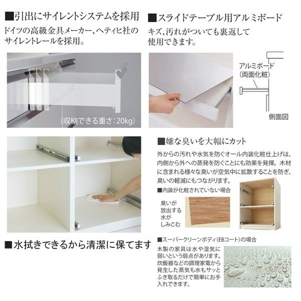 パモウナ 食器棚 下台販売 パモウナ食器棚 キッチンカウンター VIR-S1600RC|mirror-eames|03