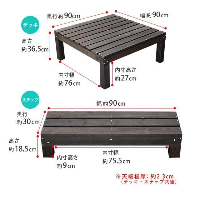 ウッドデッキ 縁台 縁側 木製 アルモニー 幅90 奥行90 高さ36 ステップ付 セット SDKIT9090STP-DBR|mirror-eames|03