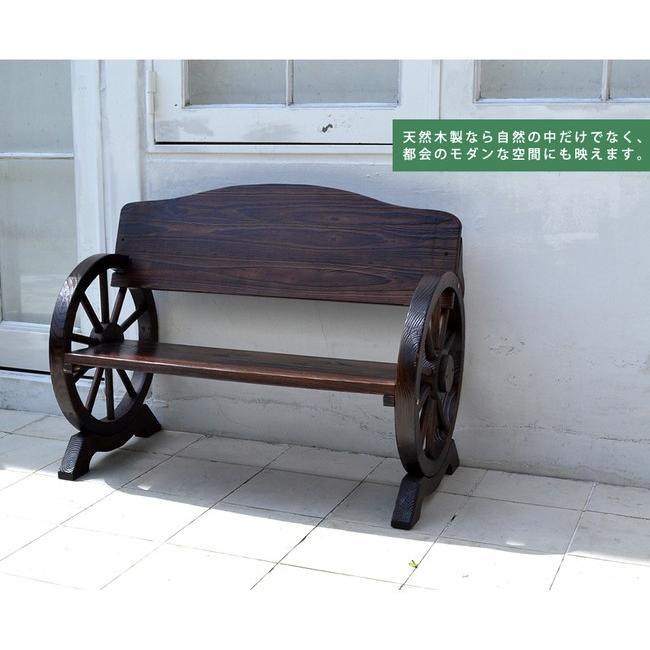 車輪ベンチ&焼杉テーブル3点セット(ベンチ大×1  ベンチ小×1 テーブル×1) WBT1100-3PSET-DBR mirror-eames 10