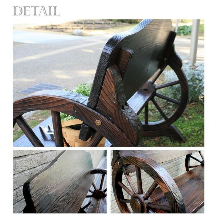 車輪ベンチ&焼杉テーブル3点セット(ベンチ大×1  ベンチ小×1 テーブル×1) WBT1100-3PSET-DBR mirror-eames 04