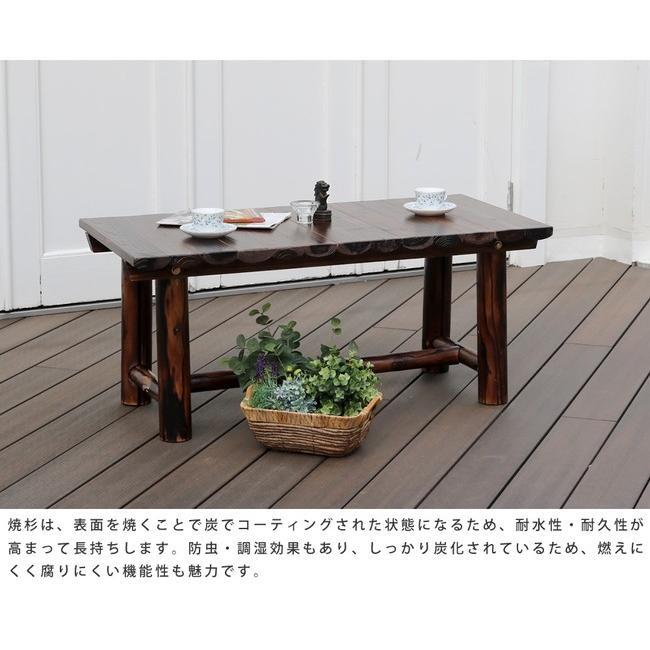 車輪ベンチ&焼杉テーブル3点セット(ベンチ大×1  ベンチ小×1 テーブル×1) WBT1100-3PSET-DBR mirror-eames 08
