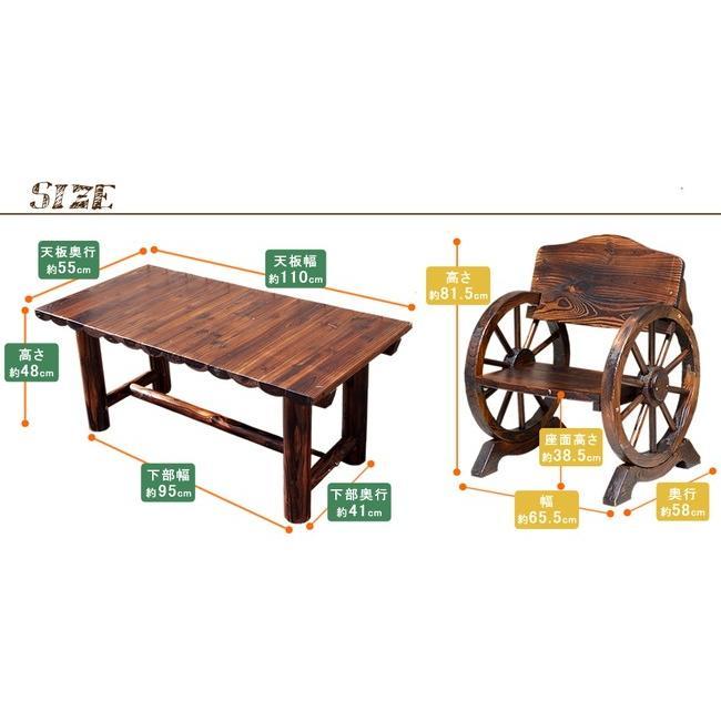 車輪ベンチ&焼杉テーブル3点セット(ベンチ小×2 テーブル×1) WBT650-3PSET-DBR|mirror-eames|05