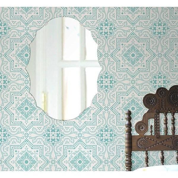 壁掛け 壁掛け 鏡 ミラー 日本製 クレスト(波頭形状) 400mm×533mm クリアーミラー シンプルタイプ(リビング、玄関、廊下、寝室など一般空間用)