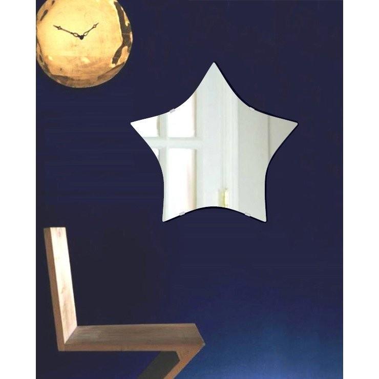 壁掛け 鏡 ミラー 日本製 高透過 高透過 超透明鏡 スター(星形) 550mm×520mm スーパークリアーミラー シンプルタイプ(一般空間用)