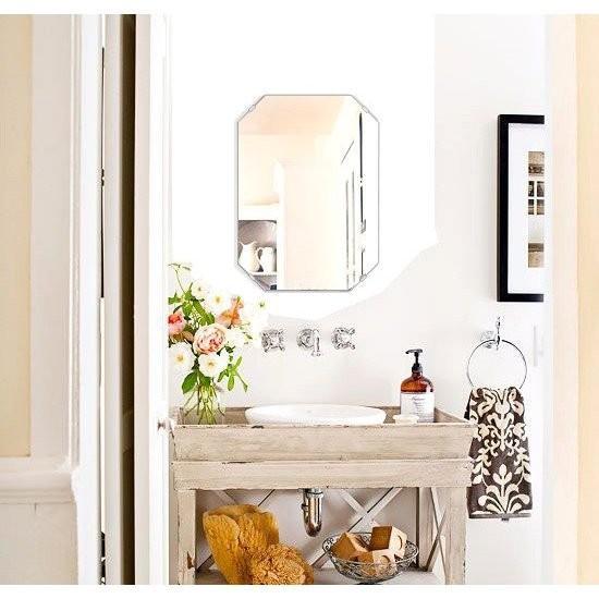 洗面鏡 浴室鏡 トイレ鏡 トイレ鏡 化粧鏡 日本製 高透過 超透明鏡 エメラルド 360mm×500mm スーパークリアーミラー シンプルタイプ フレームレスミラー