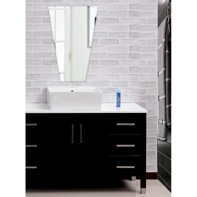 洗面鏡 浴室鏡 トイレ鏡 化粧鏡 日本製 高透過 超透明鏡 テーパードバゲット 400mm×600mm スーパークリアーミラー スーパークリアーミラー クリスタルカット フレームレスミラー