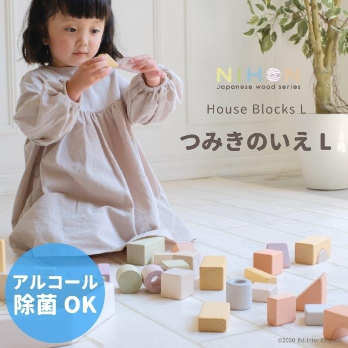 誕生日プレゼント 1歳 日本製 名前入り つみきのいえL 知育 積木 ブロック