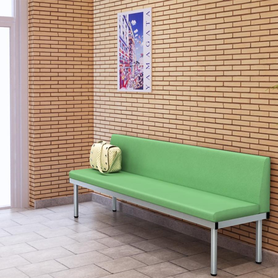 長椅子 ベンチ ロビーチェアー 幅180cm 背もたれ付き 待合室 グリーン misae 03