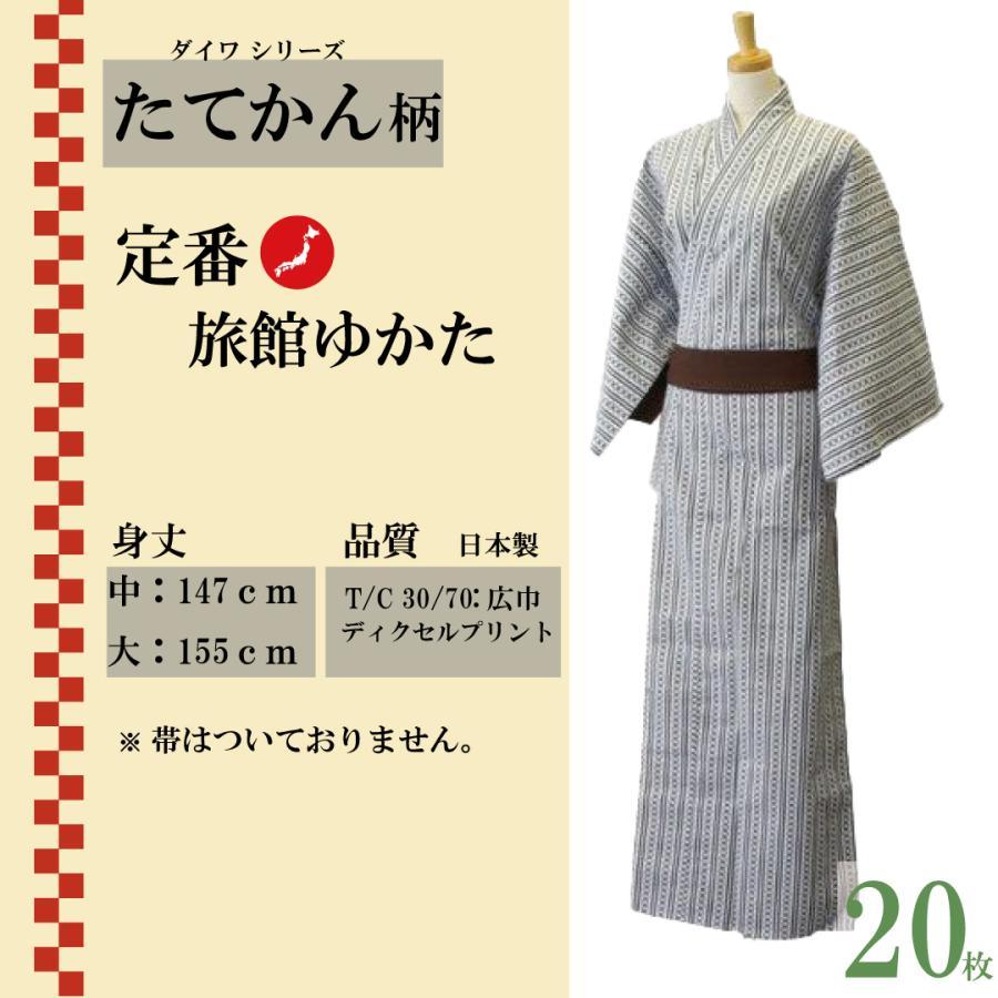 大人浴衣 日本製 業務用仕立 白紺 ダイワたてかん柄 20枚セット NO,1