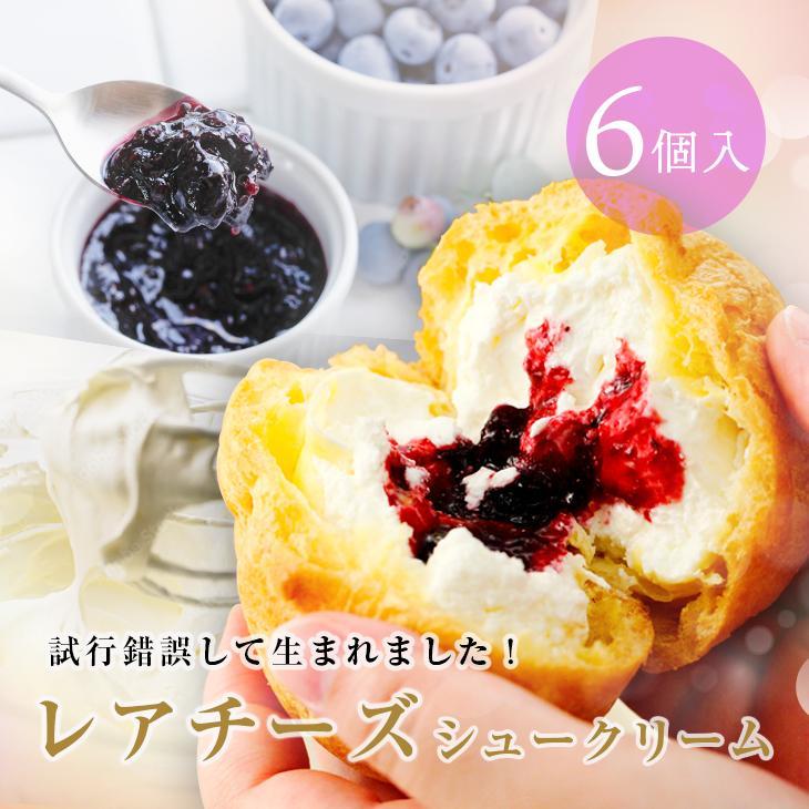 シュークリーム 送料無料 レアチーズシュークリーム(6個入) スイーツ ギフト プレゼント お歳暮 クリスマス 濃厚 クリーム ブルーベリー 冷凍 mitsuboshi