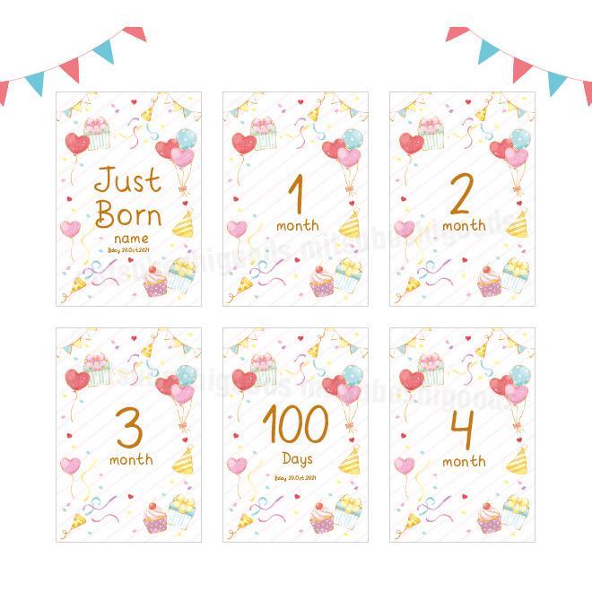 月齢カード パーティー 16枚セット マンスリーカード はがきサイズ 出産祝い フォト 出産準備 ハーフバースデー 記念日|mitsuboshigoods|03
