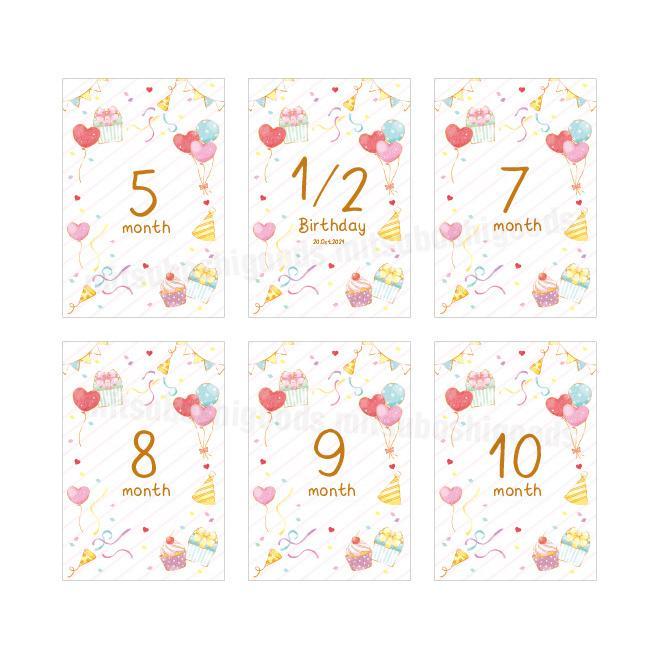 月齢カード パーティー 16枚セット マンスリーカード はがきサイズ 出産祝い フォト 出産準備 ハーフバースデー 記念日|mitsuboshigoods|04