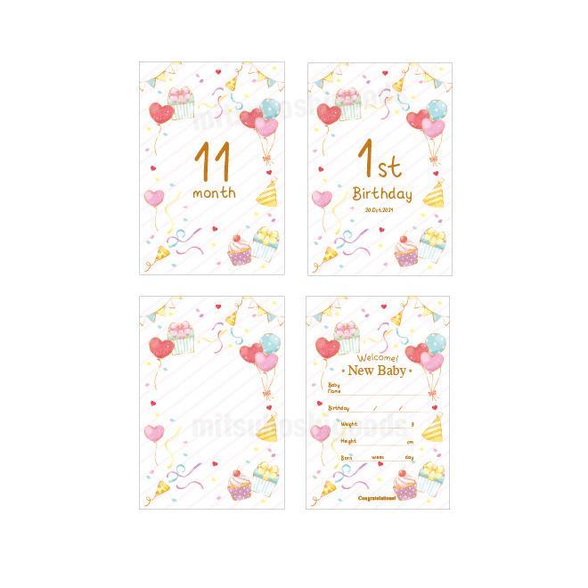 月齢カード パーティー 16枚セット マンスリーカード はがきサイズ 出産祝い フォト 出産準備 ハーフバースデー 記念日|mitsuboshigoods|05