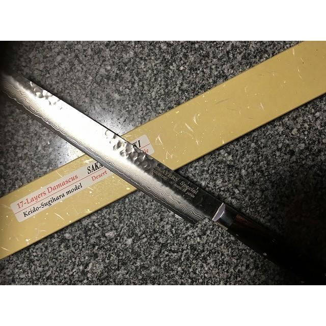 堺孝行 ダマスカス17層鋼 杉原モデル 剣型柳刃 270mm|mitusaburo|05