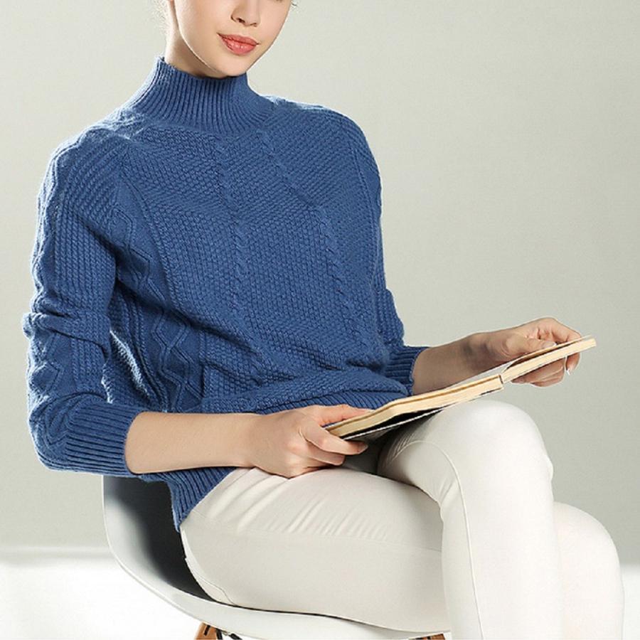 ケーブル・鹿の子編みカシミヤセーター、ハイネック厚織タイプ,ブルー系