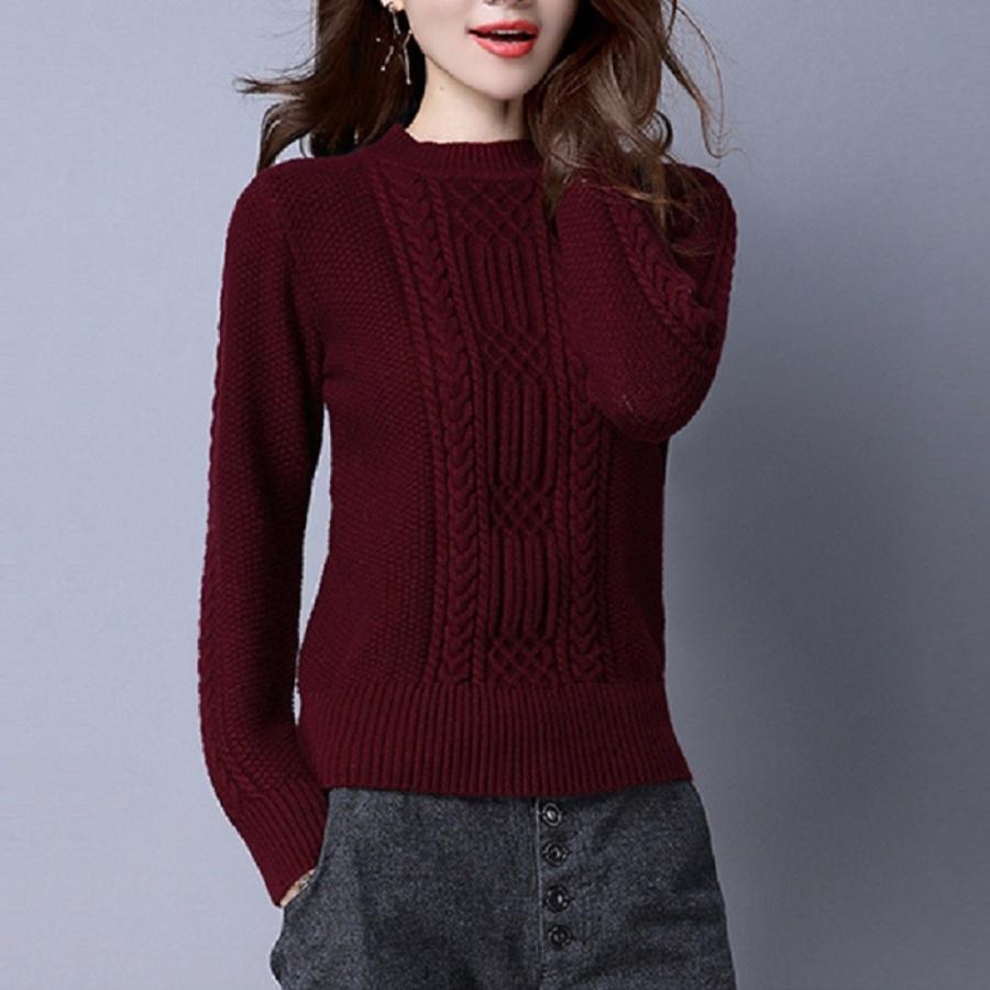 アラン編みカシミヤセーター、厚織りタイプ、ワインレッド系