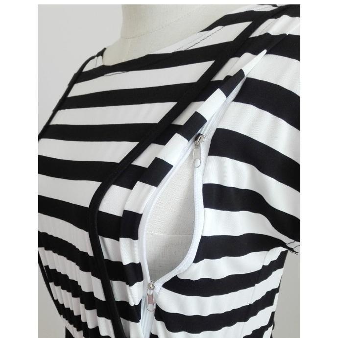 マタニティ ワンピース ロング 授乳服 マキシ 授乳口 半袖 妊婦 産前産後 ファスナー ボーダー ブラック ホワイト|miwoli-y|15