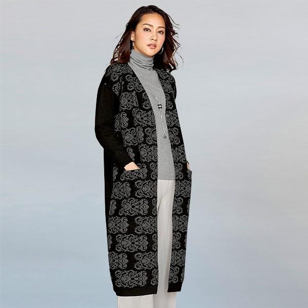 非常に高い品質 ジャカード編みニットロングジャケット 40代 50代60代 ファッション シニア ミセス, ABC INTERIOR dd4ff370