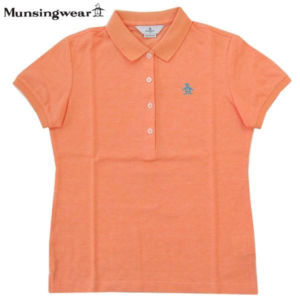 ゴルフポロシャツ半袖 マンシングウェア ゴルフウエア レディース GWLJ201 A500 オレンジ杢 Mサイズ