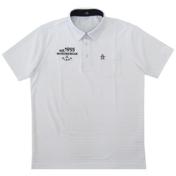 ゴルフポロシャツ半袖 マンシングウェア ゴルフウエア 地柄ボーダーサンスクリーン半袖シャツ MGMNJA33 WH ホワイト Lサイズ