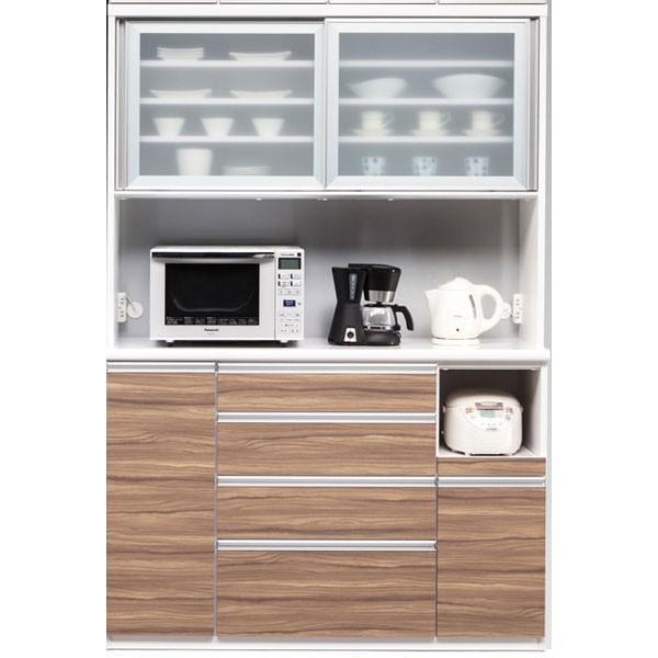 オープン食器棚 140cm幅 プリエ 国産 引き戸 レンジ台 完成品 開梱設置