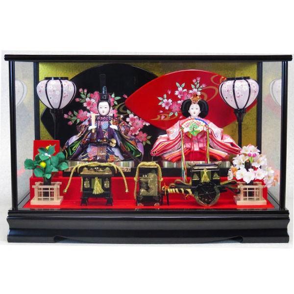 雛人形 ひな人形 親王飾り ケース飾り コンパクト かわいい 節句 三月 雛飾り ひな祭り 小三五 黒塗 蒔絵 流水に桜 56X30X37cm