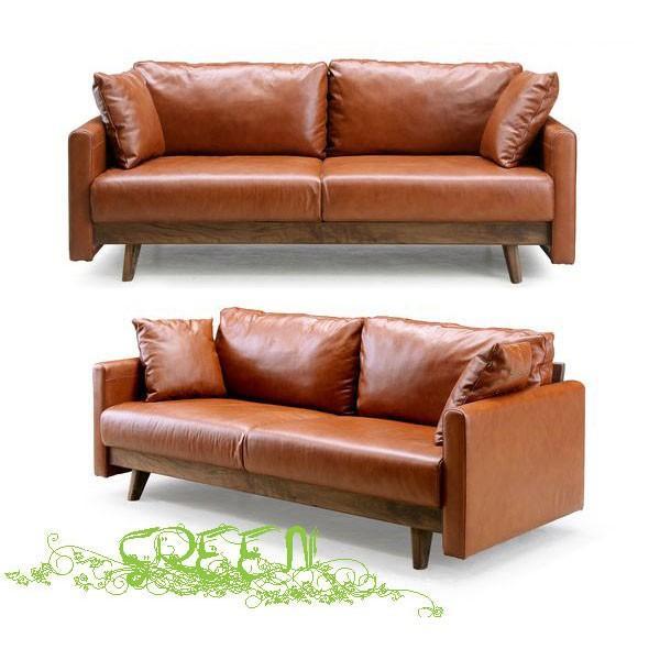 開梱設置 緑 緑 YUZU SOFA B Y-011 革張り 椅子 セラウッド塗装 3人掛けソファー(3Pソファー) 送料開梱設置無料