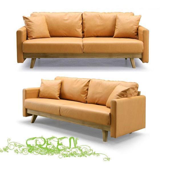 開梱設置 緑 YUZU SOFA B Y-012 革張り 椅子 椅子 セラウッド塗装 3人掛けソファー 3Pソファー 送料開梱設置無料 10月16日入荷予定