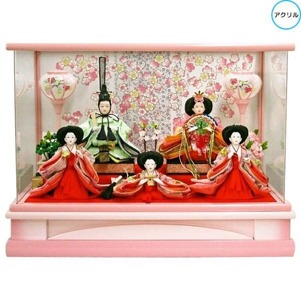 雛人形 ひな人形 衣装着人形 アクリルケース 五人飾り 五人ケース飾り 175A-11