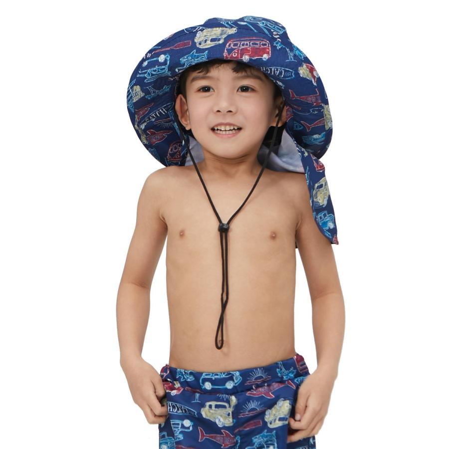 サーフハット キッズ マリンハット uv 男の子 キャップ つば広 単品 UPF50+ ジュニア 子供用 男児 水遊び 帽子