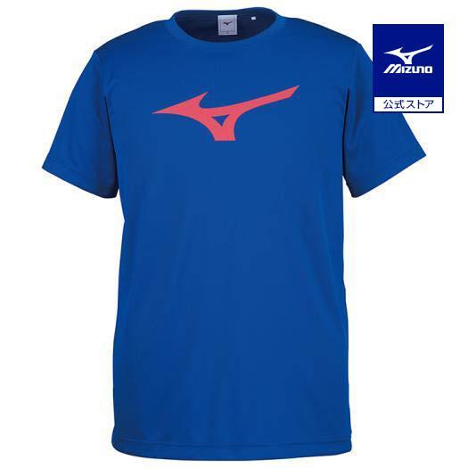 ミズノ公式 Tシャツ ユニセックス サーフブルー×レッド