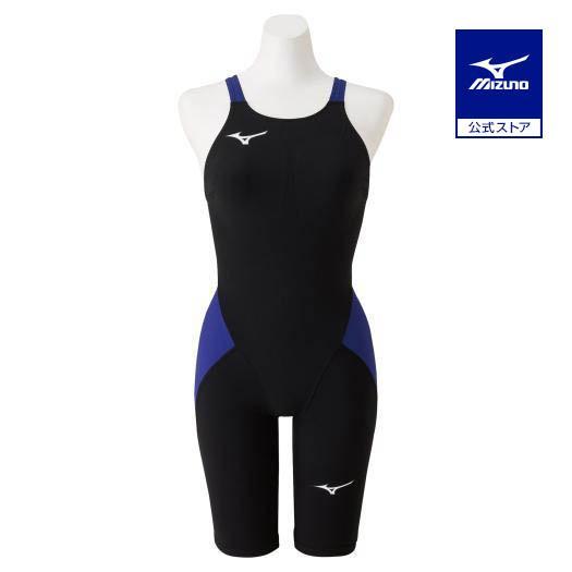 ミズノ公式 競泳用MX・SONIC α ハーフスーツ ジュニア ブラック×ブルー