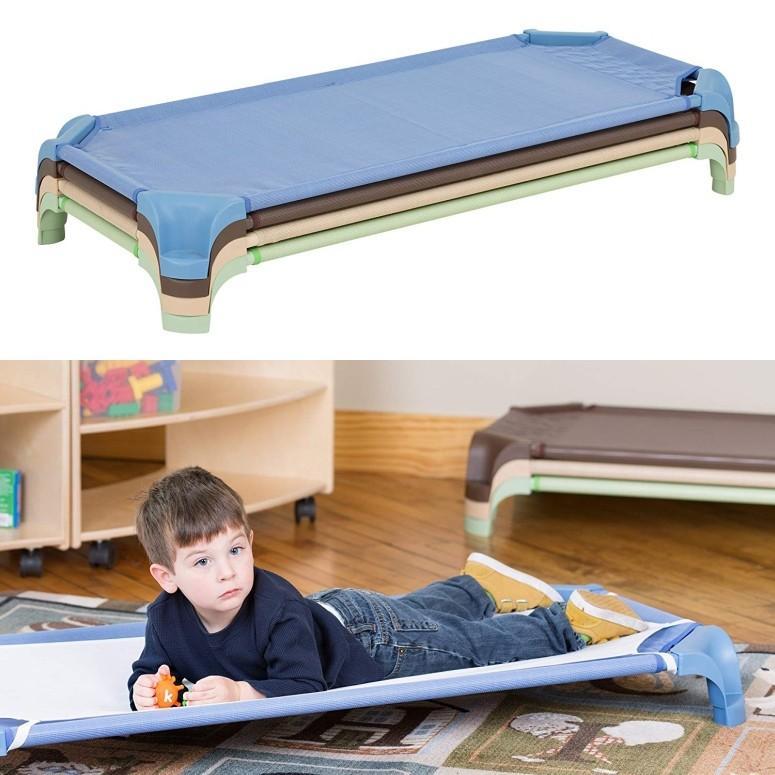 コット 4セット 4セット ナチュラルカラー 簡易ベッド 保育園や幼稚園 保育所のお昼寝に Sprogs SPG-16139-AN-SO Deluxe Unassembled Stackable Daycare Cot Rest Mat w/