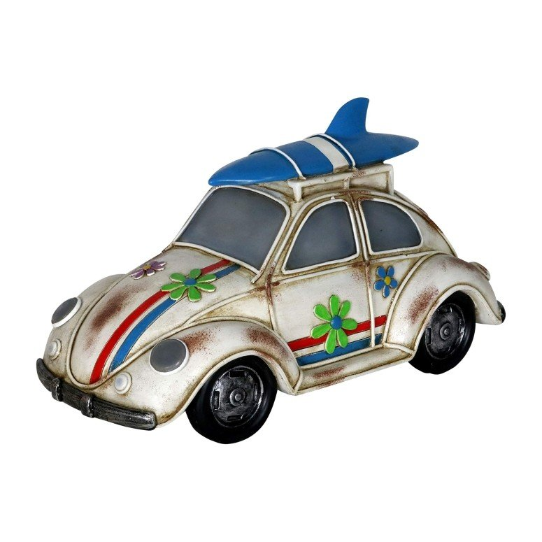 ガーデンライト LEDソーラーライト ミニ カー Exhart Retro Beetle Car Car Car Statue w/Solar LED Accent Lights - Solar-Powe赤 Garden Statue of a Mini Vintage Bu 021