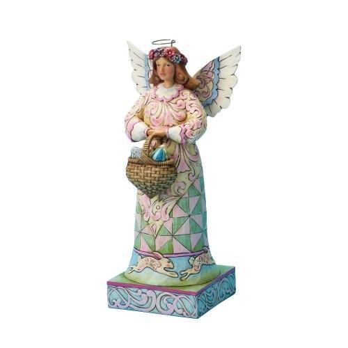 エネスコ ジム・ショア ジムショア エンジェル 復活祭 イースターエッグの入ったバスケットを持った天使 四角い台座付き 10 インチ