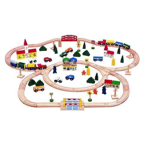 キッズ ディスティニー Kids Distiny 100ピース トリプルループ ウッドゥン トレイン セット/電車&車16体含む 線路 標識 木製 ブナ