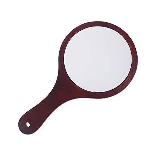 Frcolor ハンドミラー 木目調 手鏡 化粧鏡 携帯便利 手持ち メイクアップミラー かわいい おしゃれ(コーヒー)|mkbstore