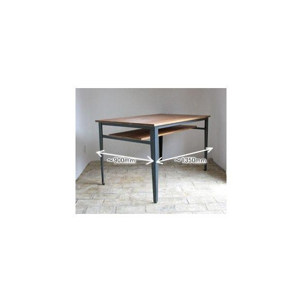 ダイニングテーブル(単体) ダイニングテーブル(単体) ラスティックアイアン アイアンダイニングテーブル(棚板あり) 1350×900RI-105-135-TN ■□
