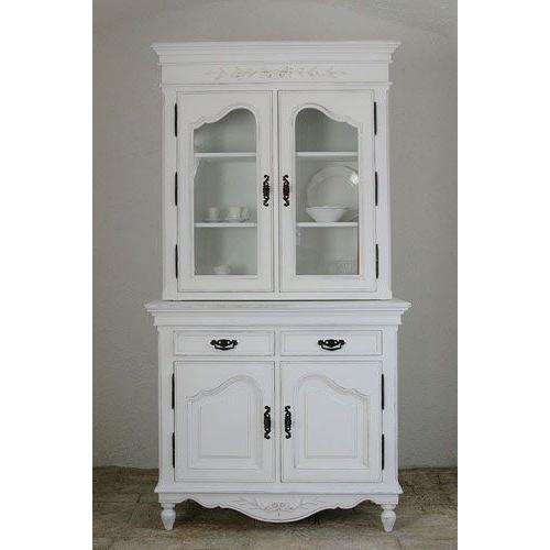 カップボード/キャビネット/チェスト/食器棚/アンティーク フランス家具 ホワイト家具 2ドアカップボード FR-0121107