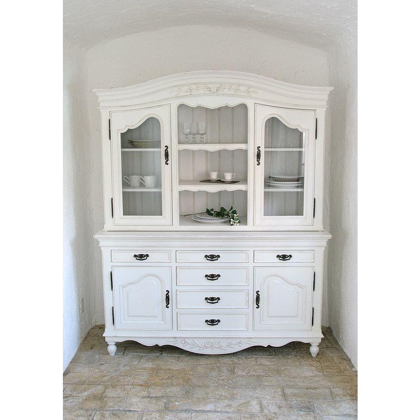 カップボード キャビネット ラック 食器棚 収納 アンティーク フランス家具 ホワイト MT-121076