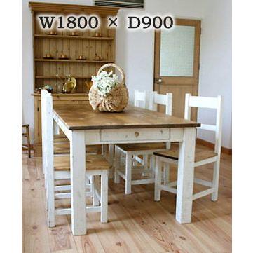 【ダイニングテーブル (単体)】ラスティックパイン スクエアレッグテーブル 1800×900RT-201-180 ■□