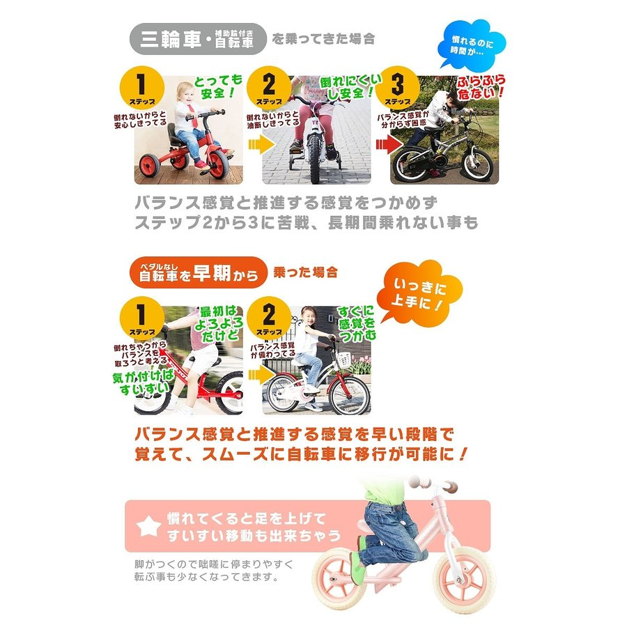 子供用自転車 ペダルなし LENJOY バランス キック バイク ランニングバイク 軽量 キッズバイク 2歳 3歳 4歳 5歳 [S100-12] mobimax 04
