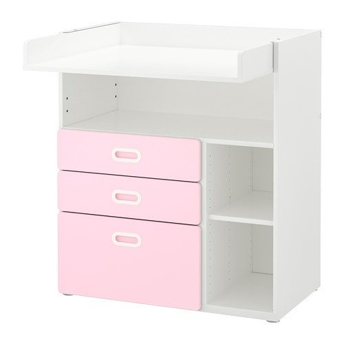 IKEA イケア IKEA イケア STUVA FRITIDS おむつ替え台 引き出し付き ホワイト ライトピンク (692.672.71)